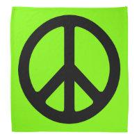 Chartreuse and Black Peace Symbol Bandana