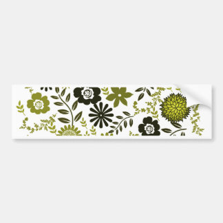 Chartreuse and Dark olive green floral pattern Bumper Sticker