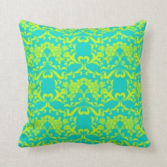 Chartreuse and Demask Vintage Bright Retro Pattern Throw Pillows