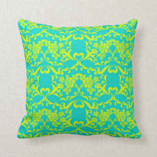 Chartreuse and Demask Vintage Bright Retro Pattern Throw Pillow