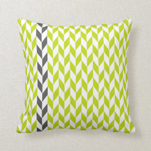 Chartreuse and Gray Abstract Herringbone Pillow