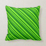 [ Thumbnail: Chartreuse and Green Colored Lines Pattern Pillow ]