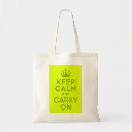 Chartreuse and Green Keep Calm and Carry On Canvas Bag