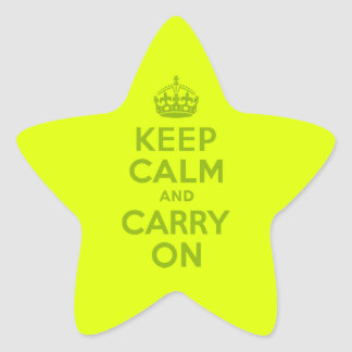 Chartreuse and Green Keep Calm and Carry On Star Sticker