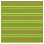 [ Thumbnail: Chartreuse and Green Lined/Striped Pattern Fabric ]