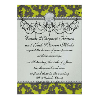 Chartreuse and Grey damask pattern Card