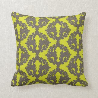 Chartreuse and Grey Damask Pillows
