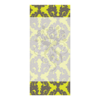 Chartreuse and Grey damask pattern Personalized Rack Card