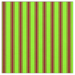 [ Thumbnail: Chartreuse and Maroon Lines Fabric ]
