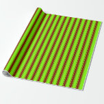 [ Thumbnail: Chartreuse and Maroon Lines Wrapping Paper ]