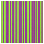 [ Thumbnail: Chartreuse and Purple Stripes Fabric ]