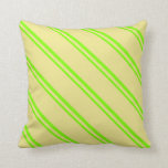 [ Thumbnail: Chartreuse and Tan Colored Lined Pattern Pillow ]