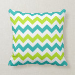 Chartreuse and Teal Chevron Zig Zag Pillow