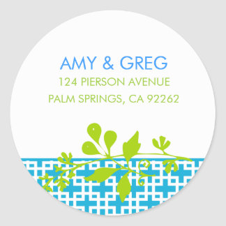 Chartreuse and Turquoise Address Labels