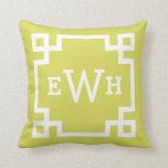 Chartreuse and White Monogram | Greek Key Border Pillow