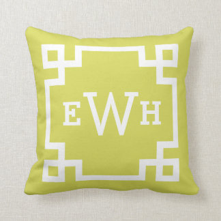 Chartreuse and White Monogram | Greek Key Border Pillow