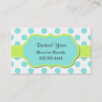 Chartreuse & Aquamarine Mommy Play Date Card