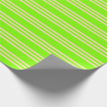 [ Thumbnail: Chartreuse & Beige Lines/Stripes Pattern Wrapping Paper ]