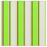 [ Thumbnail: Chartreuse, Beige & Maroon Stripes Fabric ]