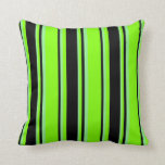 [ Thumbnail: Chartreuse, Black, and Light Green Colored Lines Throw Pillow ]