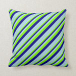 [ Thumbnail: Chartreuse, Blue, and Light Blue Pattern Pillow ]