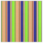[ Thumbnail: Chartreuse, Blue, Brown, Goldenrod & Red Lines Fabric ]