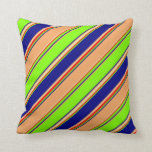 [ Thumbnail: Chartreuse, Blue, Brown, Goldenrod & Red Lines Throw Pillow ]
