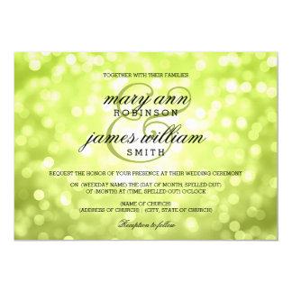 "Chartreuse Bokeh Lights Elegant Wedding 5"" X 7"" Invitation Card"