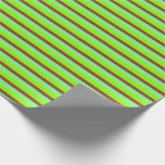 [ Thumbnail: Chartreuse, Brown, and Light Green Stripes Wrapping Paper ]