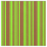 [ Thumbnail: Chartreuse & Brown Colored Lined/Striped Pattern Fabric ]