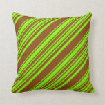 [ Thumbnail: Chartreuse & Brown Colored Lined/Striped Pattern Throw Pillow ]