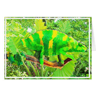 Chartreuse Chameleon Camouflaged Card