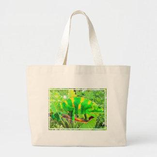 Chartreuse Chameleon Camouflaged Large Tote Bag