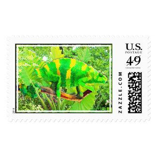 Chartreuse Chameleon Camouflaged Postage