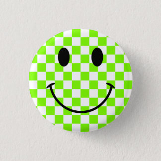 Chartreuse Checkerboard and Black Smiley Face Button