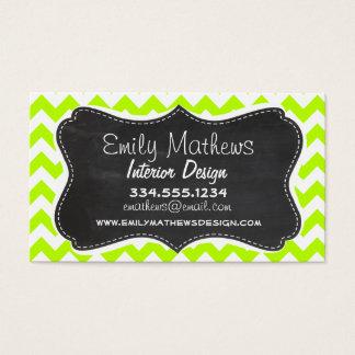 Chartreuse Chevron; Chalkboard look Business Card