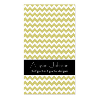 Chartreuse Chevron Design Business Cards