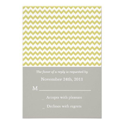 Chartreuse Chevron  Wedding RSVP Cards Invites