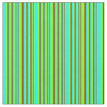 [ Thumbnail: Chartreuse, Cyan & Brown Stripes Pattern Fabric ]