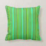 [ Thumbnail: Chartreuse, Cyan & Brown Stripes Pattern Pillow ]