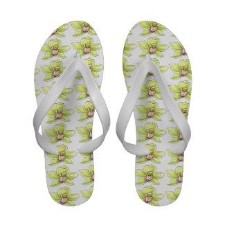 Chartreuse Cymbidium Blossom Sandals
