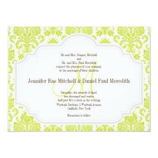 Chartreuse Damask Gray White Wedding Invitations