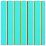 [ Thumbnail: Chartreuse, Dark Green, Pink & Cyan Colored Lines Fabric ]