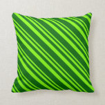 [ Thumbnail: Chartreuse & Dark Green Striped/Lined Pattern Throw Pillow ]