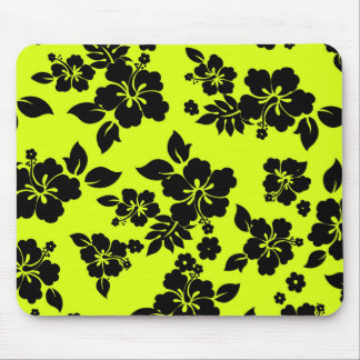 Chartreuse Dark Hawaiian Pattern Mouse Pad