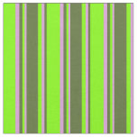 [ Thumbnail: Chartreuse, Dark Olive Green & Plum Stripes Fabric ]