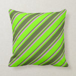 [ Thumbnail: Chartreuse, Dark Olive Green & Plum Stripes Pillow ]