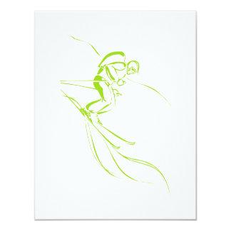 "Chartreuse Downhill 4.25"" X 5.5"" Invitation Card"