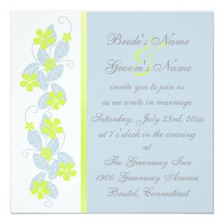 Chartreuse Flowers Wedding Invitation
