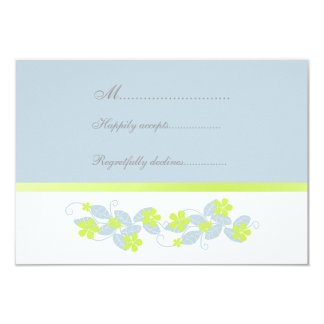 Chartreuse Flowers Wedding RSVP Card